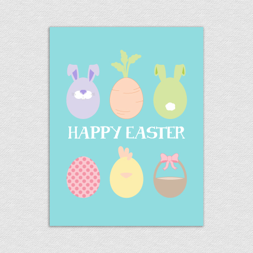 happy easter eggs printable card eastereggs l