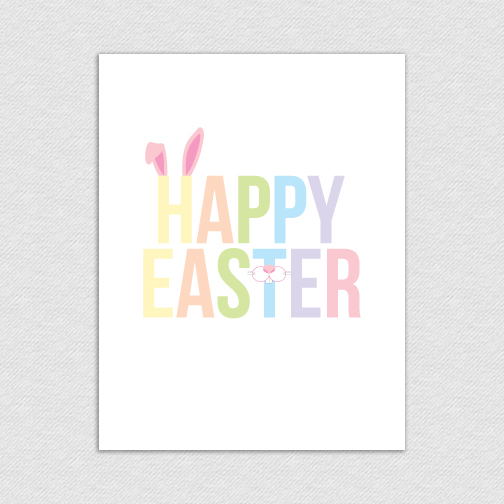 happy easter bunny printable card happy easter bunny