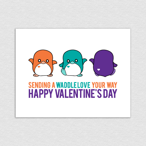 Penguin Triple Waddle Love Printable Valentineu0027s Day Card