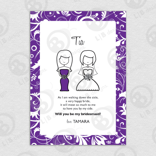 Printable Custom 5x7 Maid of Honor | Bridesmaid Card - Click Image to Close