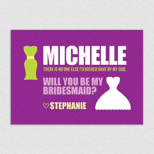 printable custom 5x7 maid of honor bridesmaid card michelle