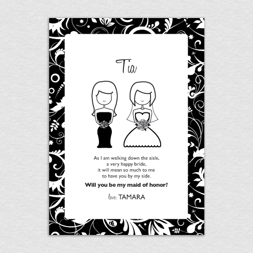printable custom 5x7 maid of honor bridesmaid card tia 15 00